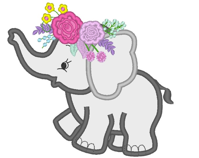 Roses crown Little Elephant machine embroidery applique designs assorted sizes INSTANT DOWNLOAD  Machine Embroidery Designs  4x4, 5x7, 6x10
