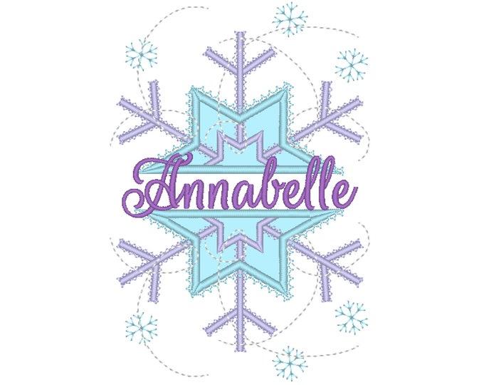 SPLIT Frozen snowflake winter queen split snowflake applique split design Machine embroidery applique designs 4, 5, 6, 7 in