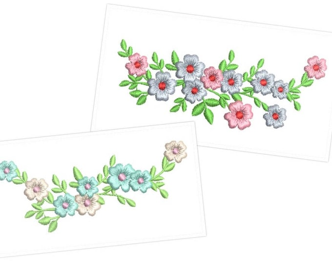 Mini vine of leaves and flowers  - Machine embroidery designs 4x4 and 5x7  INSTANT DOWNLOAD