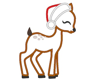 Little Baby deer Fawn with Santa hat Applique Design Baby Deer machine embroidery applique designs 4x4 5x7 6x10 Merry Christmas embroidery