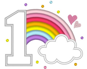 Cute Rainbow Birthday Number 1 ONE machine embroidery applique designs size 4, 5 and 6.5 inches, rainbow in clouds baby birthday number 1