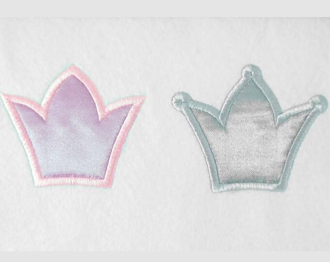 Little Prince Princess mini crowns - machine embroidery applique designs, good for baby cloth decoration - instant download