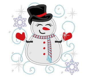 Awesome sparkling snowman embroidery applique designs - 4x4, 5x7 INSTANT DOWNLOAD