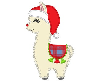Pretty llama applique embroidery Llama or alpaca with plaid blanket and Santa Christmas hat machine embroidery designs Merry Christmas