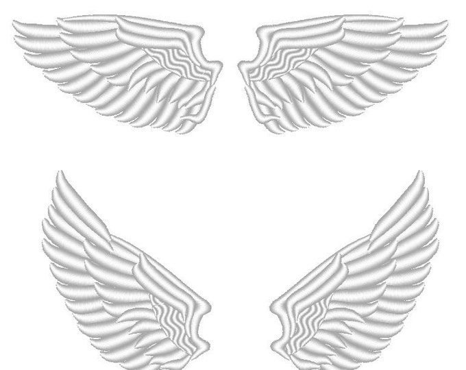 The Angel Wings fill stitch design machine embroidry design 2 and 2,5 and 3 inches