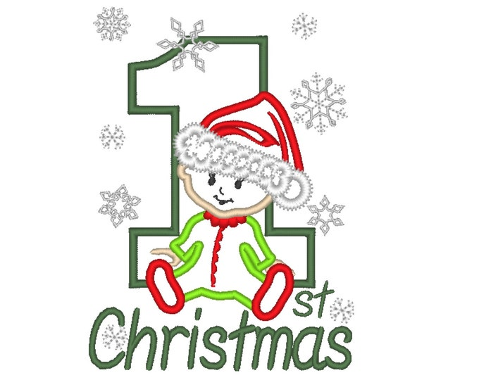 1st Christmas baby machine embroidery design for hoop 5x7 machine applique design INSTANT DOWNLOAD my first Christmas Xmas winter holidays