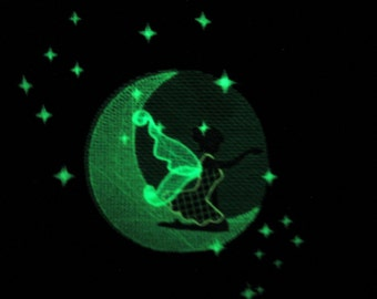 Fairy stars / Glow in the dark special designed machine embroidery / sizes 4x4 and 5x7 / file INSTANT DOWNLOAD