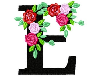 Roses floral Individual letter E garden flag monogram roses crown flowers flower Font machine embroidery design 2, 3, 4, 5, 6, 7, 8 in
