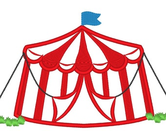Big top Tent - machine embroidery applique designs - for hoop 5x7 an 6x10 INSTANT DOWNLOAD