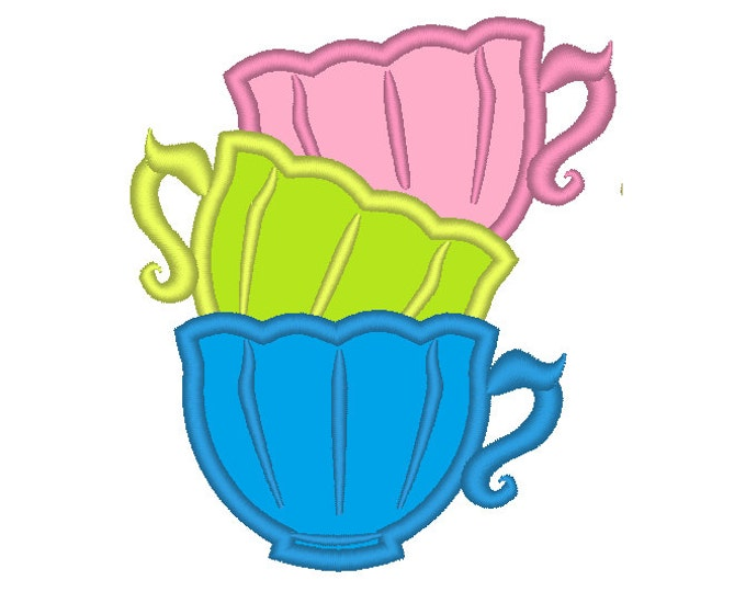 3  tea cups, curved Stack of teacups - machine embroidery applique designs
