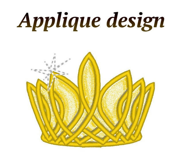 Princess crown, diadem, tiara for little girls machine embroidery and Applique designs - 2, 3, 4 and 5 inches INSTANT DOWNLOAD