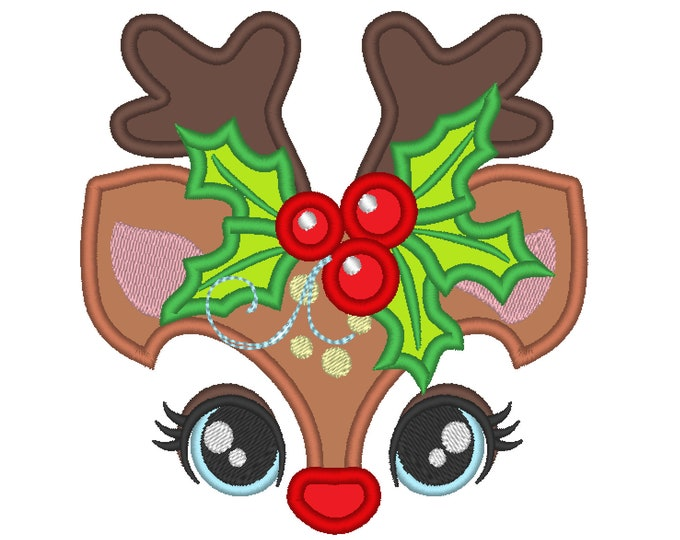 Cute Reindeer Holly leaves crown Machine Embroidery Applique Design Christmas Deer head with floral crown Merry Christmas