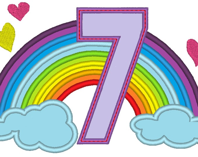 Cute Rainbow Birthday Number 7 SEVEN only machine embroidery applique designs, sizes 5, 6and 7 inches INSTANT DOWNLOAD