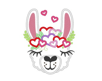 Valentine llama or alpaca head with hearts floral crown applique machine embroidery designs applique embroidery llama face