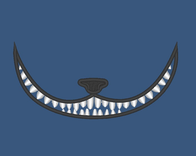 Cheshire Cat smile face mask face embroidery designs 3.5, 4, 5, 6 and 7 inches machine embroidery designs