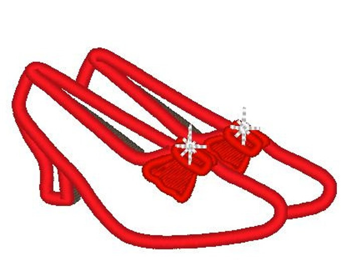 Dorothy red shoes - Ruby slippers - The Wonderful Wizard of Oz  - machine embroidery applique designs - 4x4 and 5x7 INSTANT DOWNLOAD