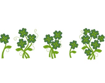Clover bouquets - machine embroidery designs, shamrock lucky four leaf clover flower in many sizes INSTANT DOWNLOAD