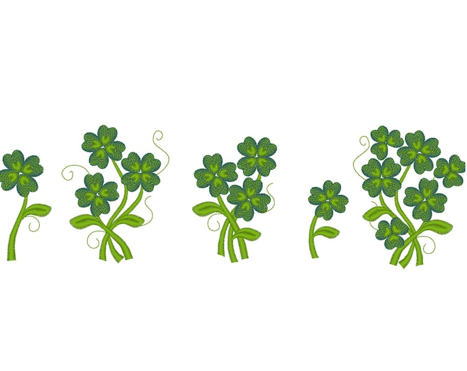 Clover bouquets - machine embroidery designs, shamrock lucky four leaf clover flower in many sizes, Saint Patrick's Day INSTANT DOWNLOAD