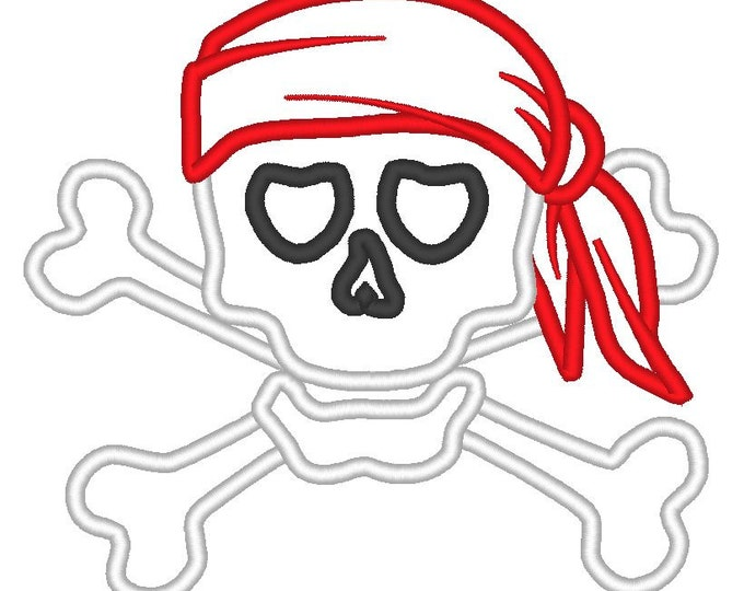 Skull and crossbones pirate - machine embroidery designs and applique designs, sizes for hoop 4x4, 5x7 INSTANT DOWNLOAD