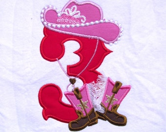 Girly Cowboy Birthday One Number - only one any number to choose from the set - machine embroidery applique designs 5x7