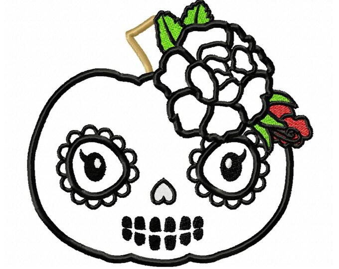 Pumpkin Calavera skull  Applique Design ~ Fall Pumpkin - awesome pumpkin embroidery, pumpkin applique, little pumpkin princess