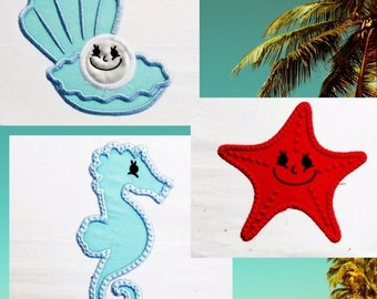 Seahorse, pearl, sea star - INSTANT DOWNLOAD - machine embroidery applique designs