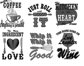 Kitchen quotes Pack price - 6 towel embroidery designs - quick stitch  - machine embroidery designs - 5x7