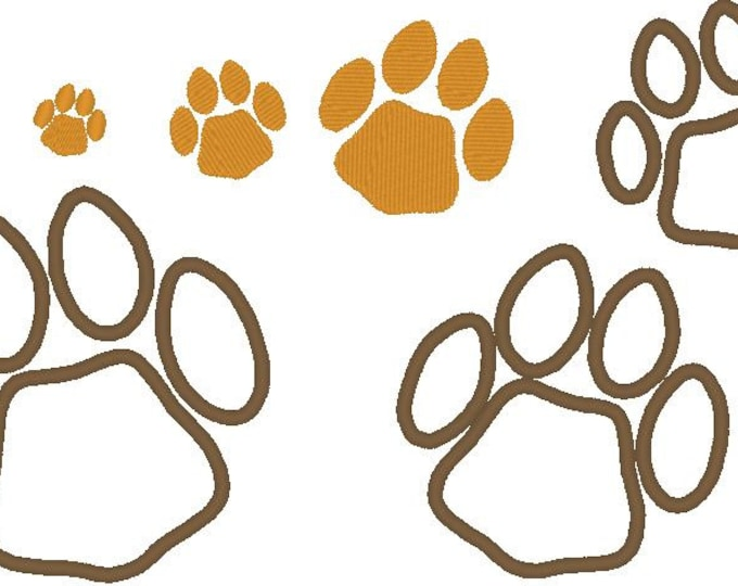 Dog paw, paws set applique and fill sttich machine embroidery designs , mini designs fill stitch and applique  0.5, 1, 1.5, 2, 2.5, 3, 4 & 5