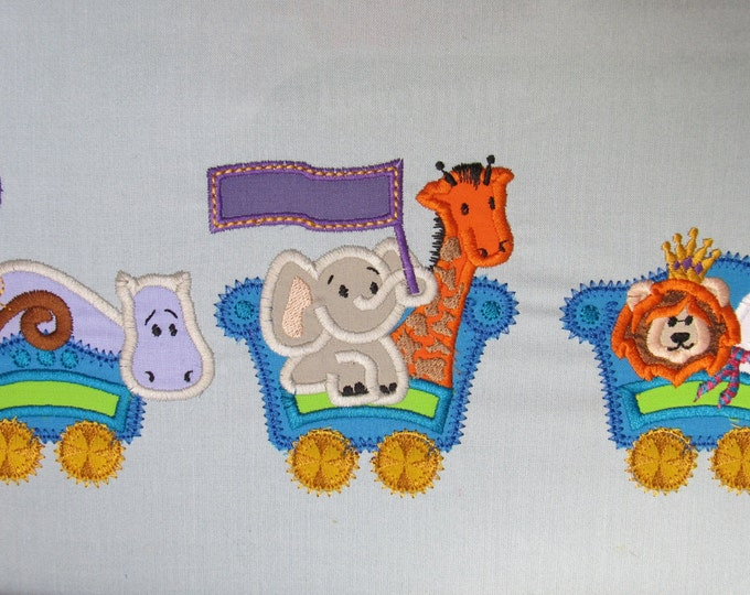 DISCOUNT! 50% Circus Train with monkey, elephant, lion, hippo, bear, giraffe and clown - machine applique design for hoop 4x4 and 5x7