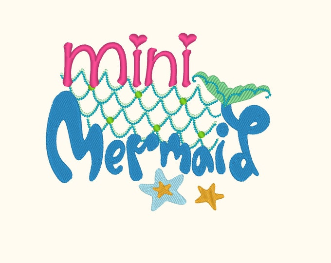 Mini Mermaid Embroidery design 4x4 5x7  mermaid thing, summer, beach embroidery, summer vacation, mermaid embroidery,