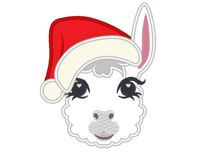 Christmas Pretty eyes llama or alpaca head with shabby chick roses crown applique machine embroidery designs applique embroidery llama face