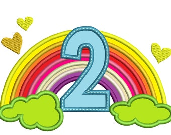 Cute Rainbow Birthday Number 2 TWO only machine embroidery applique designs, sizes 5, 6and 7 inches INSTANT DOWNLOAD