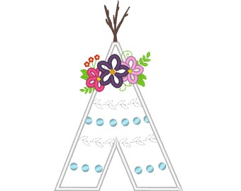 Wild Tepee Teepee Tipi with floral flower crown machine embroidery applique  designs - assorted sizes, for hoops 4x4, 5x7, 6x10