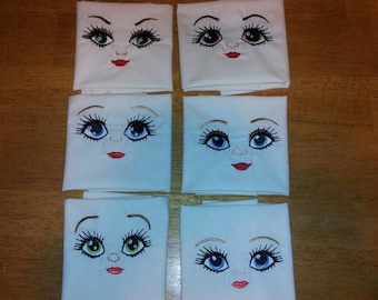 Dolls pretty faces - 6 types - big set for your soft toy - machine embroidery designs, complete faces and single elements INSTANT DOWNLOAD
