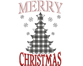Merry Christmas gingham old fashioned classic banner decoration machine embroidery designs 4x4, 5x7, 8x8, 8x12