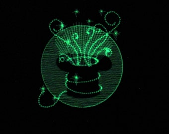 Magician Magic hat and swirls tricks sparkles, glow in the dark special machine embroidery designs for hoop 4x4 and 5x7 INSTANT DOWNLOAD