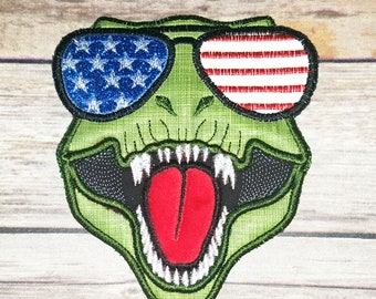 T-rex Dinosaur Face aviator glasses 4th of July patriotic  machine embroidery applique designs, machine embroidery design