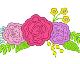 Cowgirl  shabby Chic 3 roses flowers Bouquet crown - machine embroidery designs for embroidery hoops 4x4 and 5x7