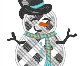 Gingham plaid snowman applique Machine embroidery designs - 4, 5, 6, 7, 8 inches  INSTANT DOWNLOAD