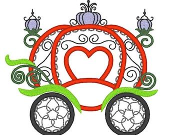 Princess Pumpkin Carriage - machine embroidery applique designs, 4x4, 5x7, 6x10 INSTANT DOWNLOAD