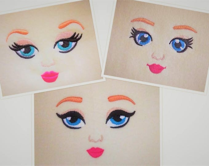 Embroidered Dolls face, doll eyes - 3 types - machine embroidery designs, complete faces, doll face machine embroidery designs