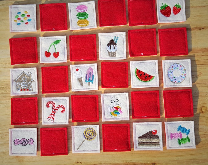 Sweet Memory game Sweeties In The Hoop  machine embroidery ITH simply design project download for hops 4x4, 5x7 and 6x10