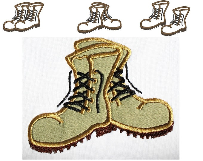 Combat Boots, 3 types INSTANT DOWNLOAD machine embroidery applique design -4x4, 5x7 and 6x10