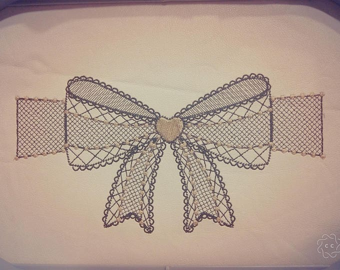 Purse, zipped bag lace bow block embroidery, Pouch, Block Machine Embroidery designs to make awesome bag INSTANT DOWNLOAD 4x4 5x7 6x10