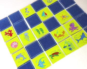 """Memory game Sea life time """"In The Hoop"""" - machine embroidery ITH simply design - download for hops 4x4, 5x7 and 6x10"""