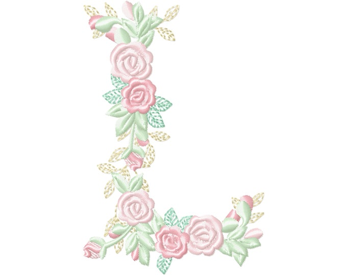 Delicate Roses Floral letter L garden flag monogram flowers flower flowered Font machine embroidery designs 3.5, 4, 5, 6, 7, 8 in