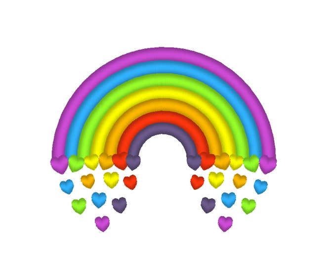 Rainbow 7 colors with floating falling hearts machine embroidery design assorted sizes 4x4 and 5x7