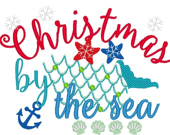 Christmas by the sea embroidery designs, Merry Christmas embroidery design, beach Christmas, Sea Christmas, Christmas embroidery