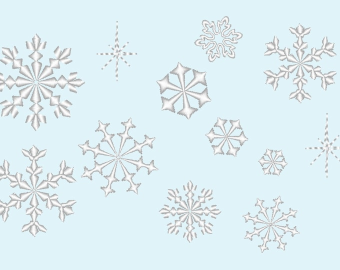 5 Snowflakes and 1 bling/sparkle - machine embroidery designs set assorted sizes mini delicate frozen snow snowflakes