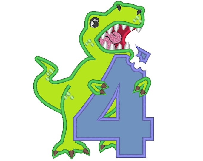 T rex dinosaur eating Birthday number four 4, trex with bitten number 4 machine embroidery applique designs Birthday outfit for 4x4 5x7 6x10